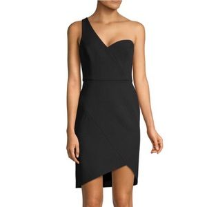 BCBG MAXAZRIA One Shoulder Stretch Crep Wrap Dress